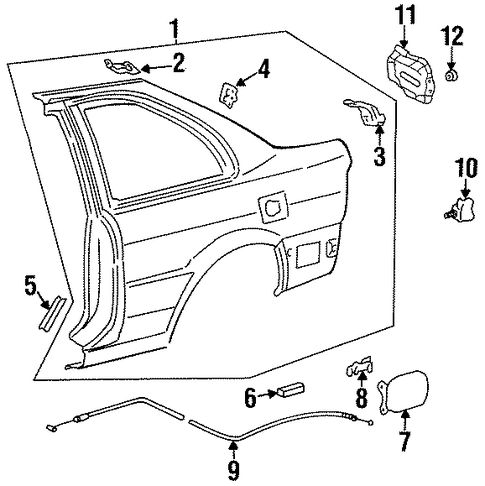 BODY/FUEL DOOR for 1997 Toyota Paseo #1