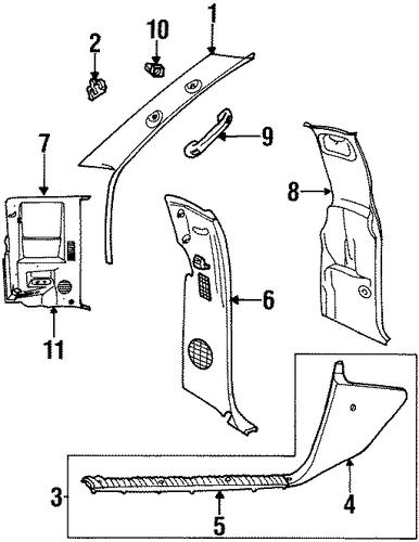 Pillar trim for 1997 dodge ram 3500 5dz95sp8 genuine oem - Dodge ram interior replacement parts ...
