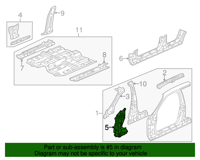 2001 Honda ACCORD SEDAN VP (SIDE SRS) STIFFENER SET, R. FR. PILLAR (LOWER) - (04688S84A00ZZ)
