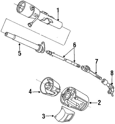 steering column components for 1990 dodge spirit