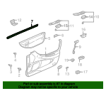 1999 Honda ACCORD SEDAN EXV6 WEATHERSTRIP, L. FR. DOOR (INNER) - (72375S84A01)