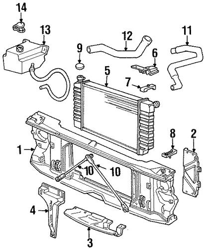 oem radiator support for 1993 chevrolet k2500 pickup