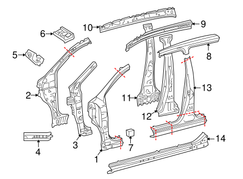Inner Center Pillar - Toyota (61032-52071)