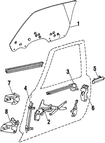 front door parts for 1985 oldsmobile cutlass supreme