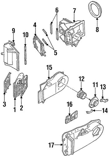 evaporator  u0026 heater components parts for 1999 pontiac