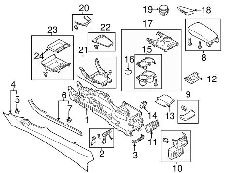 Center Console Parts Diagram 2013 Ford Fusion