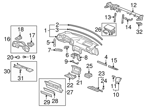 OEM Honda 77111-S2A-000 - Instrument Panel Bracket