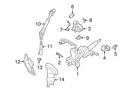 STEERING/STEERING COLUMN ASSEMBLY for 2010 Toyota Corolla #2