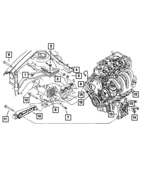 Chrysler PT Cruiser Dodge Neon Engine Mount Bolt w// Washer Mopar OEM