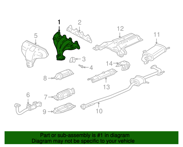 1999 Honda ACCORD SEDAN DX MANIFOLD ASSY., EX. - (18000PJKA00)