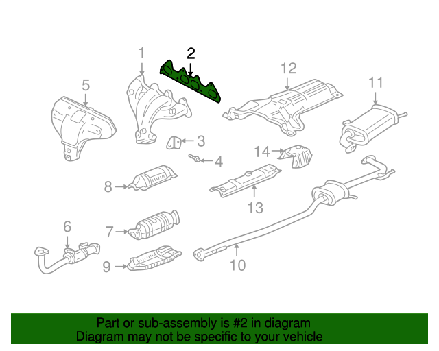 2001 Honda ACCORD SEDAN VP (SIDE SRS) GASKET, EX. MANIFOLD (NIPPON LEAKLESS) - (18115P0A003)