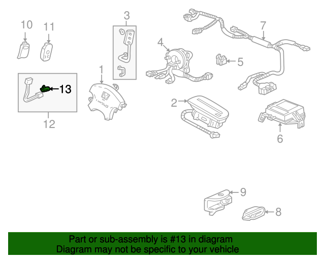 2001 Honda ACCORD SEDAN VP (SIDE SRS) CLIP, CONNECTOR (DARK GREEN) - (91565S0X003)