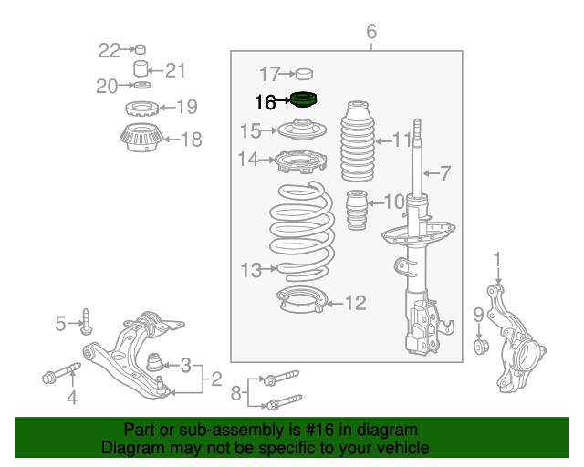 2013 Honda INSIGHT LX BEARING, SHOCK ABSORBER MOUNTING - (51726SFA005)