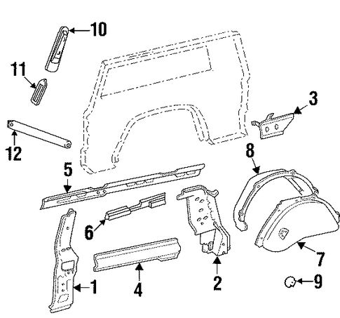 inner structure for 1998 jeep cherokee