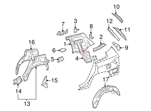 Inner Panel Upper Bracket - Toyota (61715-0E040)