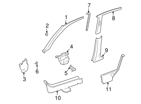 1997 Honda CIVIC SEDAN DX GARNISH ASSY., R. FR. PILLAR *YR98L* (COAST SAND) - (84101S04000ZC)