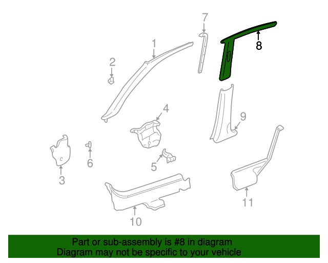 1997 Honda CIVIC SEDAN DX GARNISH ASSY., L. CENTER PILLAR (UPPER) *YR98L* (COAST SAND) - (84161S04000ZC)