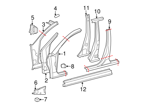 BODY/CENTER PILLAR & ROCKER for 2012 Toyota Avalon #1