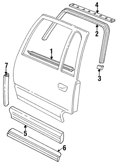 Exterior trim rear door parts for 1998 cadillac deville for Exterior door parts