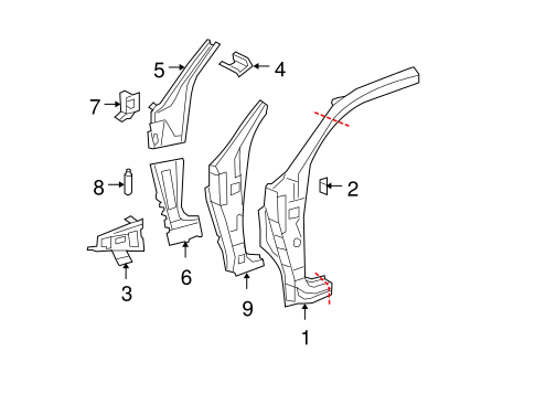 BODY/HINGE PILLAR for 2007 Toyota Tundra #1