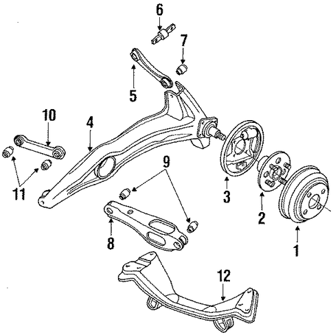1989 Honda CIVIC SEDAN DX Arm, R Rear Trailing (Drum) - (52370SH3A18)