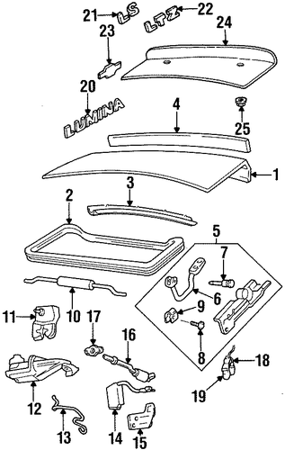 oem trunk for 1997 chevrolet lumina gmpartscenternet With fast chevy lumina