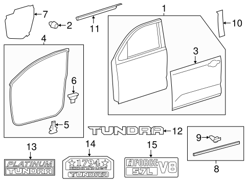 BODY/EXTERIOR TRIM - FRONT DOOR for 2014 Toyota Tundra #1