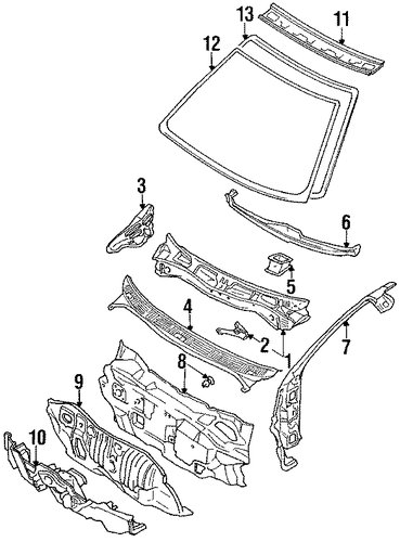 Windshield Header - Toyota (63102-13010)
