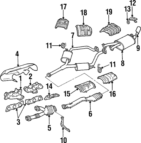 EXHAUST SYSTEM/EXHAUST COMPONENTS for 1998 Toyota Supra #1