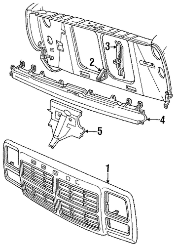 grille  u0026 components for 1992 dodge d150