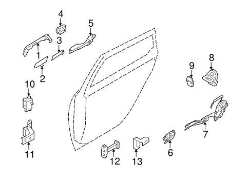 Rear Door Parts For 2006 Infiniti M35
