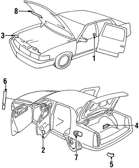 1996 Cadillac Seville Camshaft: OEM LABELS For 1996 Cadillac Seville