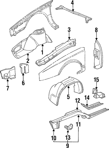 oem structural components  u0026 rails for 1990 cadillac