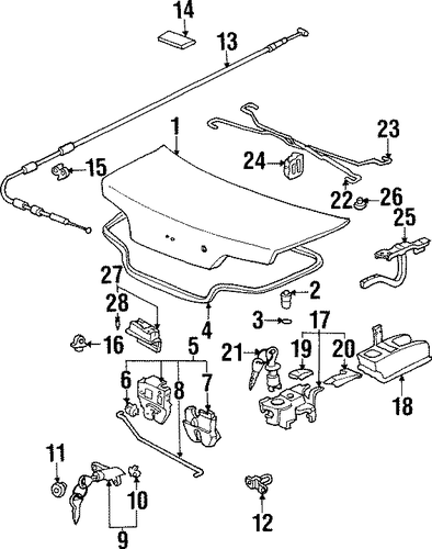OEM Honda 74863-S30-003 - Rod, Trunk Lock