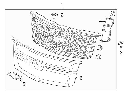 grille components for 2016 chevrolet suburban. Black Bedroom Furniture Sets. Home Design Ideas