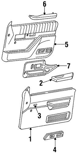Oem interior trim front door for 1995 chevrolet suburban k1500 for Chevrolet suburban interior parts