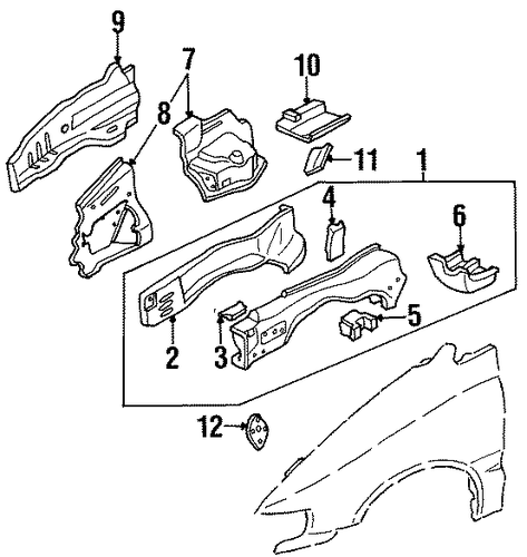 OEM Honda 60810-SX0-A00ZZ - Side Member Assembly