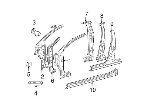 BODY/CENTER PILLAR & ROCKER for 2010 Toyota Yaris #1