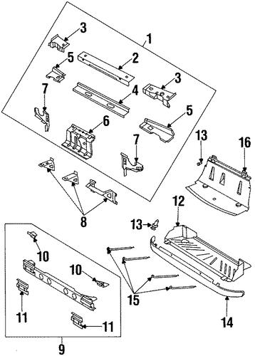 oem radiator support for 1997 saturn sc1
