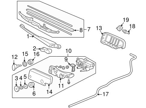 OEM Honda 76720-S10-A02 - Wiper Arm