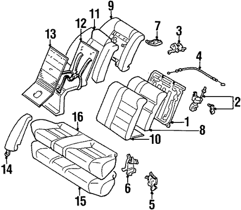 BODY/REAR SEAT COMPONENTS for 1997 Toyota Corolla #2