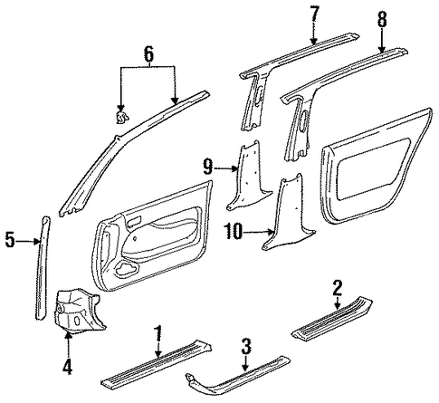 BODY/INTERIOR TRIM - PILLARS for 1996 Toyota Camry #1