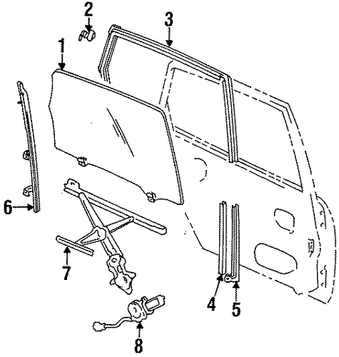 OEM Honda 73450-SX0-J01 - Door Glass