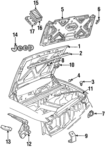 hood  u0026 components for 1998 jeep grand cherokee