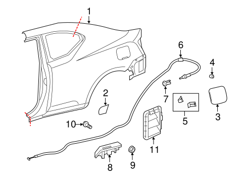BODY/QUARTER PANEL & COMPONENTS for 2013 Scion tC #1