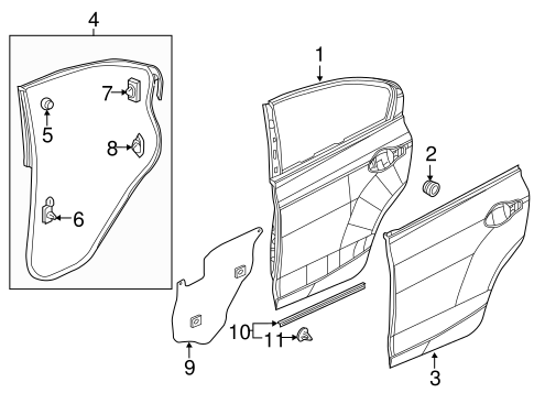 OEM Honda 67611-TR0-305ZZ - Skin Set, R Rear Door