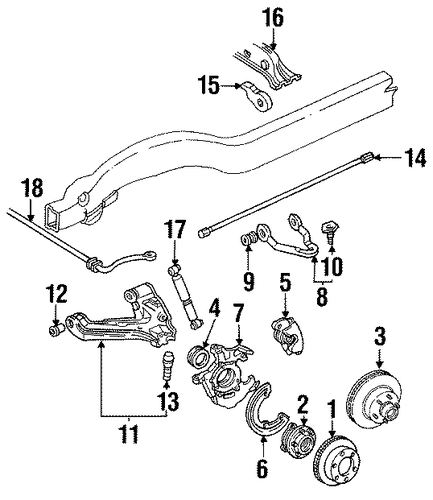 suspension components for 1998 gmc suburban k2500