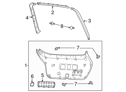 Lift Gate Trim - Toyota (67750-21080-B0)