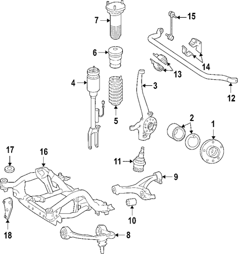 Front suspension for 2008 mercedes benz r320 for Mercedes benz suspension parts