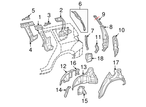 Inner Quarter Panel Upper Support - Toyota (61701-0R010)